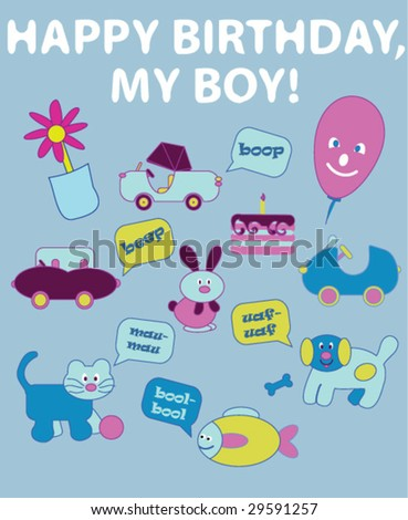 Birthday Card Boys Stock Vector 29591257 Shutterstock