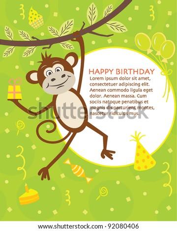 Birthday card for kids - stock vector