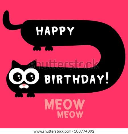 Birthday card funny black kitten - stock vector