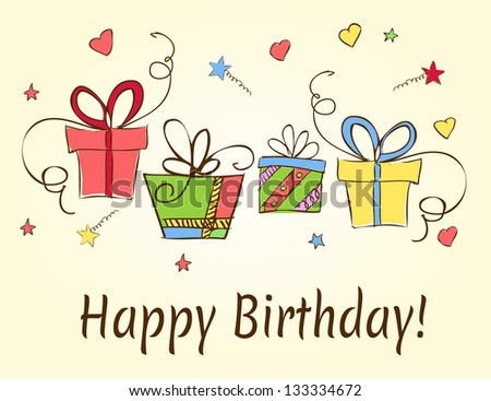 birthday card hand drawn with gifts - stock vector
