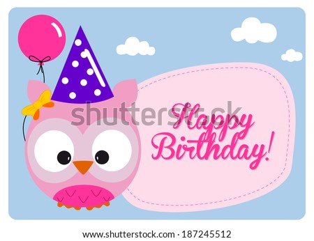 birthday card, little pink cute owl with hat and fuchsia balloon for the birthday party on clear sky  - stock vector