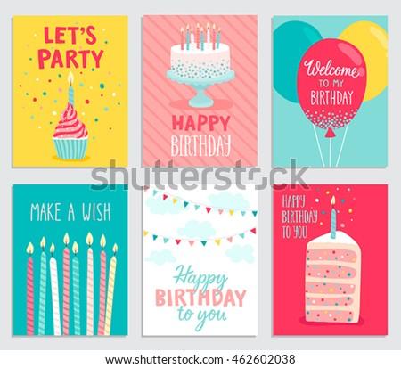 Birthday Card Set Vector Illustration Stock Photo Photo Vector