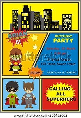 birthday card superhero invitation stock vector 286482002 shutterstock