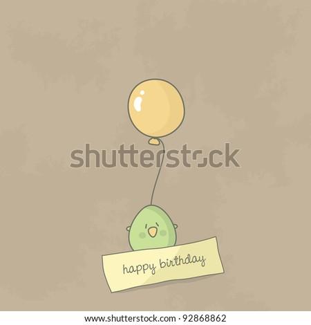 Birthday card with a cute bird holding balloon. Vector. - stock vector