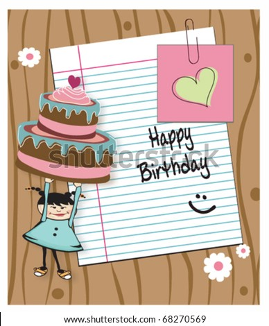 birthday card with a girl holding cake and with blank place for your wishes and message - stock vector