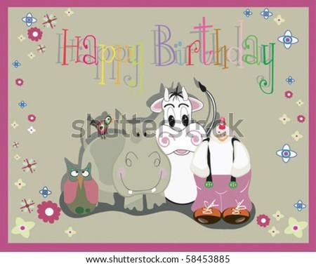 Birthday Card Animals Stock Vector 58453885 Shutterstock