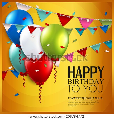 Birthday card with balloons and birthday text on yellow background. - stock vector