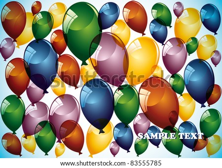 Birthday card with balloons on blue background. - stock vector