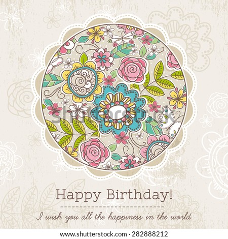 Birthday card with big round of spring flowers,  vector illustration