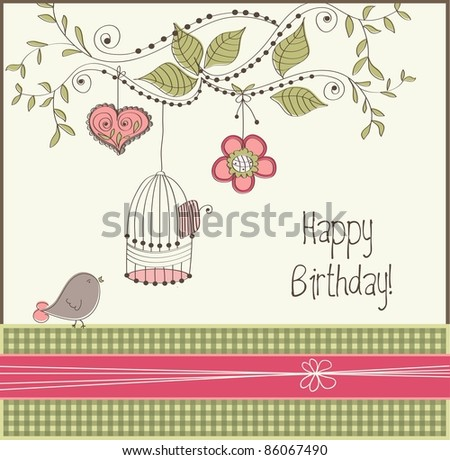 Birthday card with bird and cage, vector - stock vector
