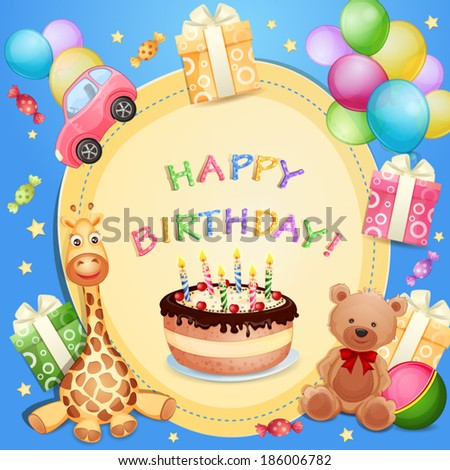 Birthday card with birthday cake, balloons and gifts  - stock vector