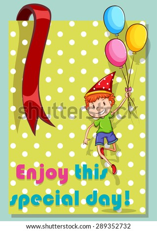 Birthday card with boy and balloons