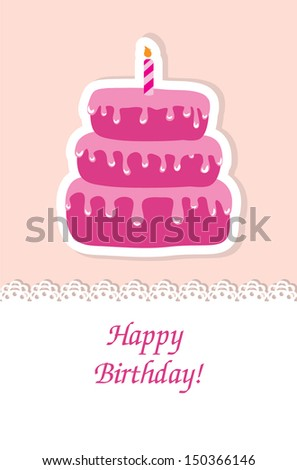 Birthday card with cake and candle - stock vector