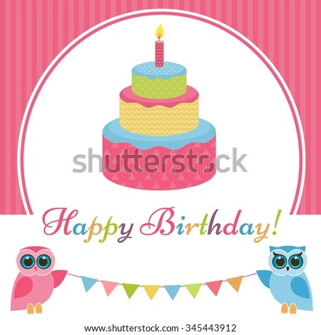 Birthday card with cake and two owls - stock vector