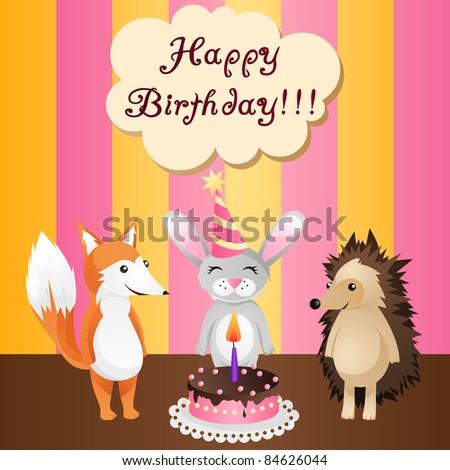 birthday card with cake, fox, bunny and hedgehog - stock vector