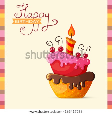 Birthday card with cake illustration - stock vector