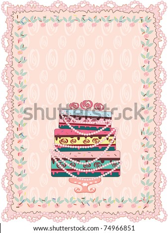 Birthday card with cake ,vector - stock vector