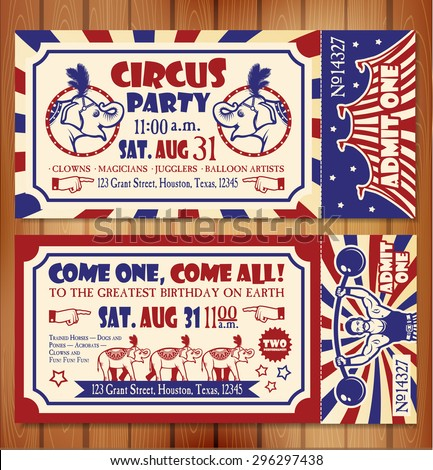 Birthday card circus ticket stock vector 296297438 shutterstock birthday card with circus ticket bookmarktalkfo Gallery