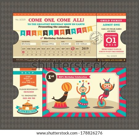 Birthday card with Circus Ticket pass design Template - stock vector