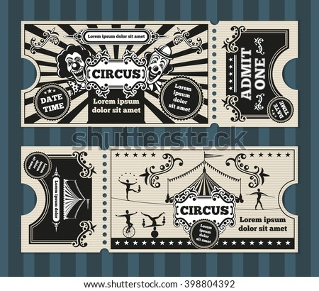 Birthday card with circus tickets template. Invitation, invite, carnival party coupon. Vector illustration - stock vector