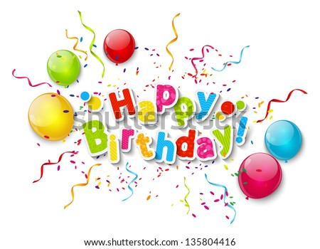 Birthday card with color balloons - stock vector
