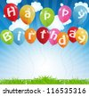 birthday card with colored balloons, vector illustration - stock vector