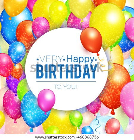 Happy Birthday Greeting Card Party Colorful Vector 582731371 – Vector Birthday Cards