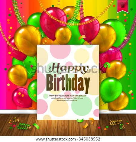 Birthday card with colorful balloons, confetti, wooden floor and paper with wishes text.