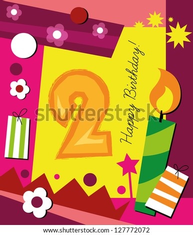 Birthday card, with colorful collage background