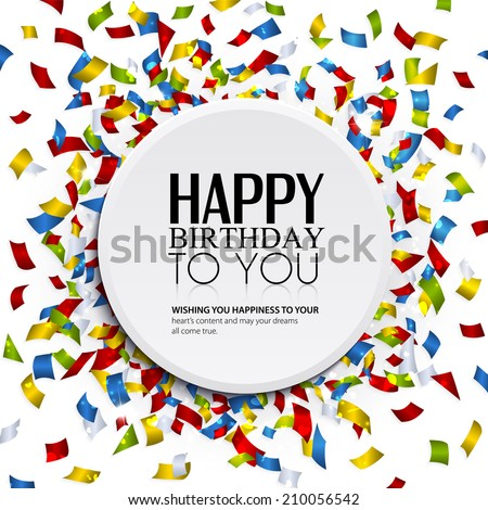 Birthday card with confetti and birthday text. - stock vector
