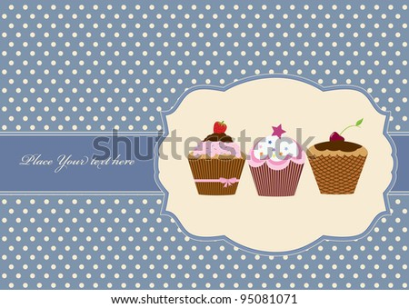 Birthday card with cupcake - stock vector