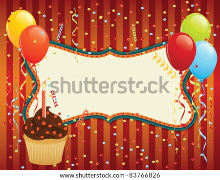 Birthday Card with cupcake, balloons and confetti. CMYK EPS 8 with global colors vector illustration. - stock vector