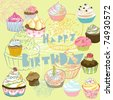 birthday card with cupcakes - stock vector