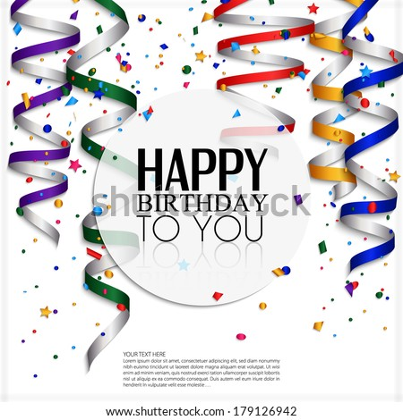 Birthday card with curling stream, confetti and birthday text. - stock vector