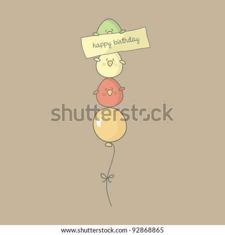 Birthday card with cute birds flying on a balloon. Vector. - stock vector