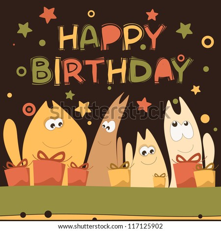 Birthday card with cute kittens - stock vector