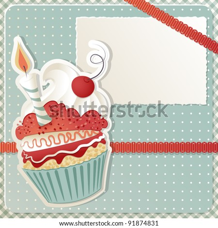 Birthday card with funny cupcake and copy space - stock vector