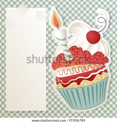 Birthday card with funny cupcake and paper note - stock vector