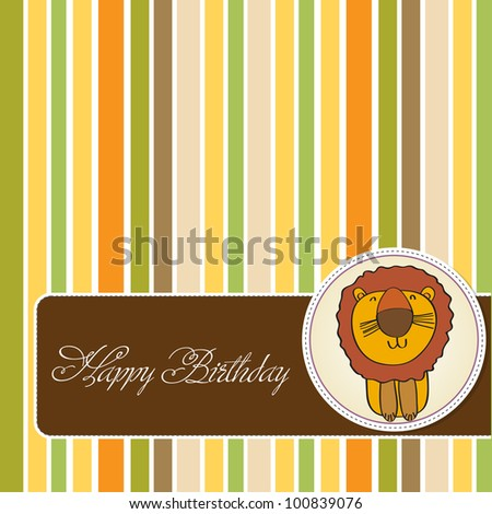birthday card with funny lion - stock vector