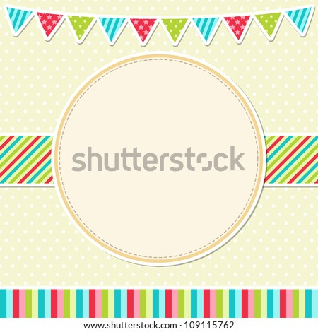 Birthday card with garland - stock vector