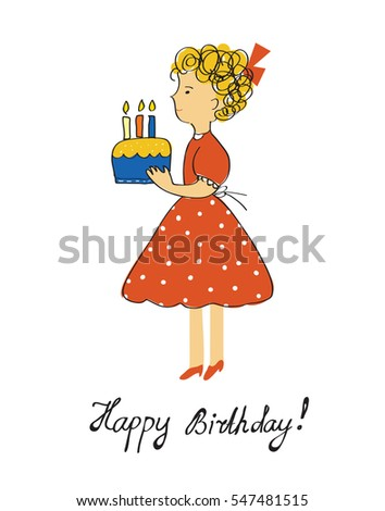 Birthday card girl cake child vector stock vector 547481515 birthday card with girl and cake for a child vector graphic illustration design bookmarktalkfo Images