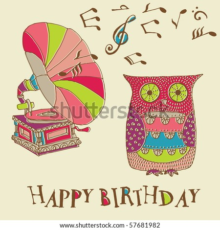 Birthday Card Owl Gramophone Stock Vector 57681982 Shutterstock