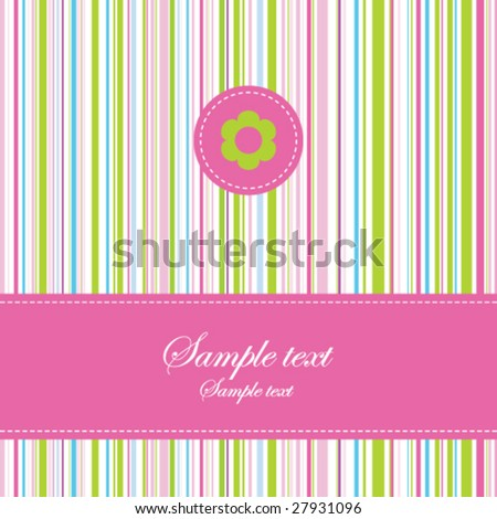 birthday card with stylish colorful stripe background Simple unique design for greeting card, birthday invitation, scrapbook project, wedding, mother's day, Easter greetings - stock vector