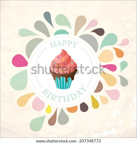 Birthday card with sweet cupcake. vector illustration - stock vector