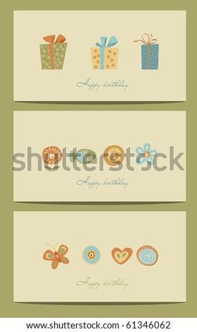 birthday cards - stock vector
