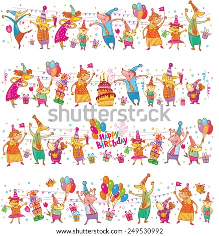 Birthday cartoon border - stock vector