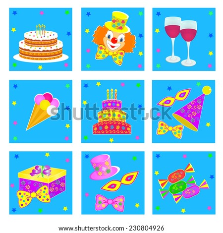birthday,celebration and party icons,vector,illustration