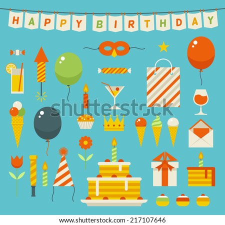 Birthday celebration attributes vector icons. Object and stuff in flat modern style. - stock vector