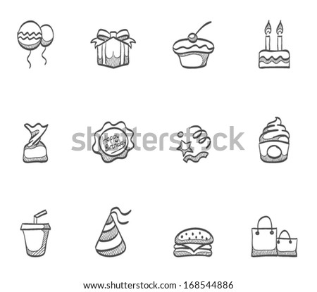 Birthday celebration icons in sketch. - stock vector