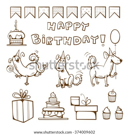 Birthday coloring  book. Cute dogs, gifts, cake, candle, balloon and candy. Vector illustration. - stock vector